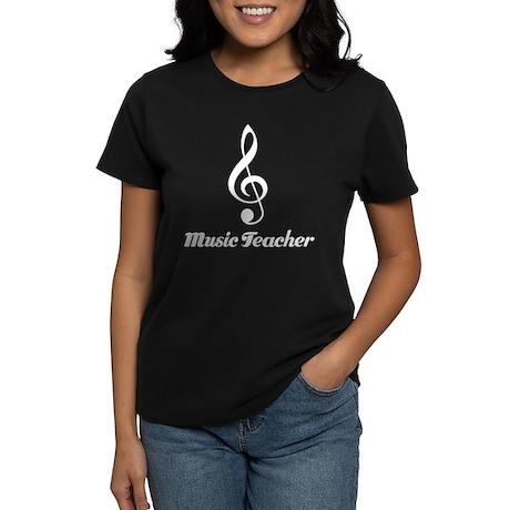 Fun Treble Clef Music Teacher Gift Women's Dark T-