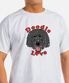 Doodle Love Curly Really Black T-Shirt