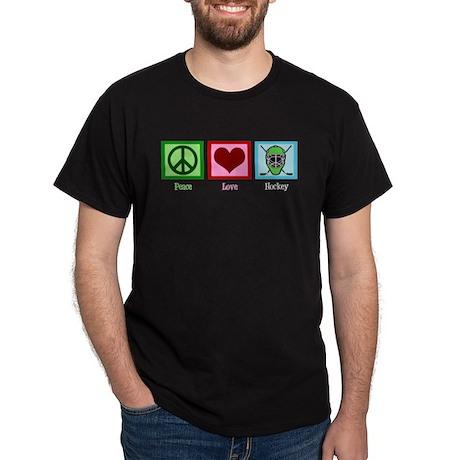 Peace Love Hockey Dark T-Shirt
