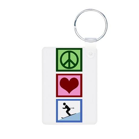 Peace Love Ski Aluminum Photo Keychain