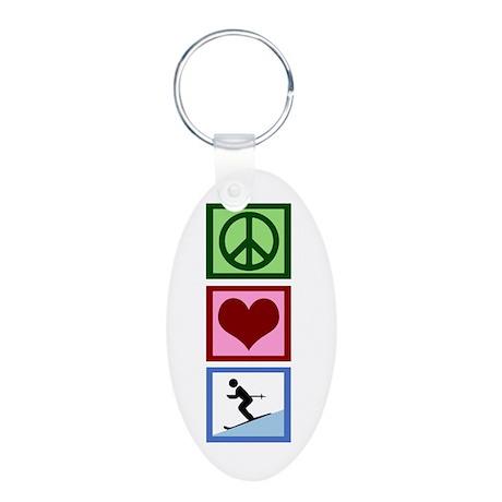 Peace Love Ski Aluminum Oval Keychain