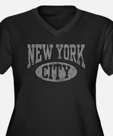 New York City Women's Plus Size V-Neck Dark T-Shir