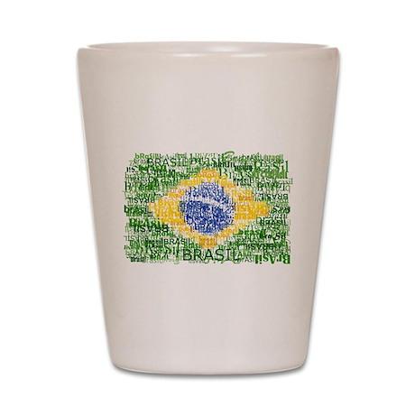 Textual Brasil Shot Glass