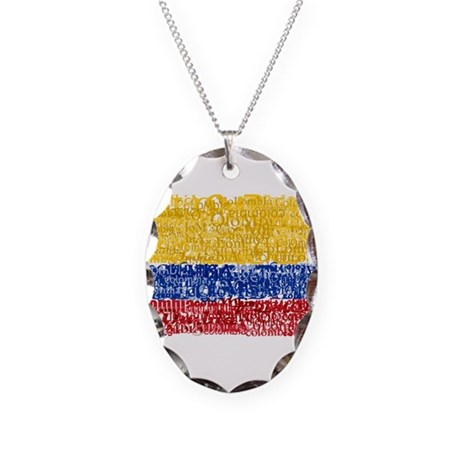 Textual Colombia Necklace Oval Charm