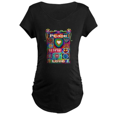 Collage: Peace & Tie Dye Maternity Dark T-Shirt