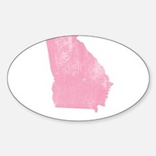 Vintage Grunge Pink Georgia Sticker (Oval)