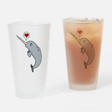 Narwhal Love Drinking Glass