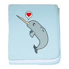 Narwhal Love baby blanket