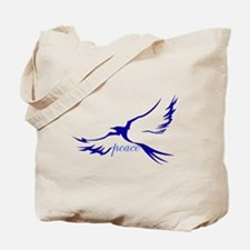 Winged Peace Blue Tote Bag