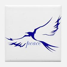 Winged Peace Blue Tile Coaster