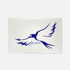 Winged Peace Blue Rectangle Magnet
