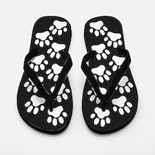 White Paw Prints Flip Flops