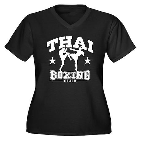 Thai Boxing Women's Plus Size V-Neck Dark T-Shirt