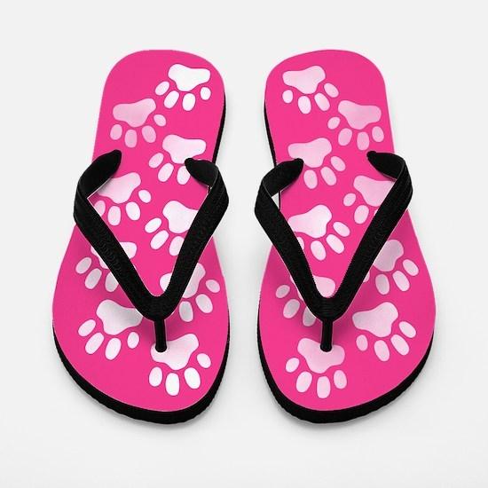 Pink Paw Prints Flip Flops