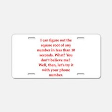 geel math lovers Aluminum License Plate