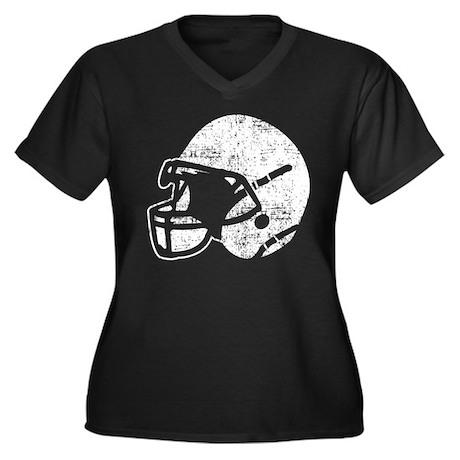 Vintage Football Helmet Women's Plus Size V-Neck D