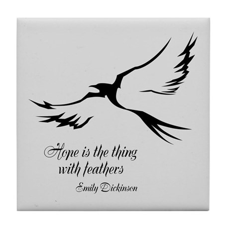 Feathered Hope Silver Tile Coaster