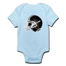Black and White Football Helmet Infant Bodysuit
