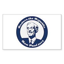 Ron Paul Republic Circle Sticker (Rectangle)