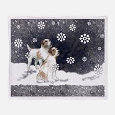 Jack Russells in the snow Throw Blanket