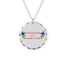 Autism Grandma Necklace Circle Charm
