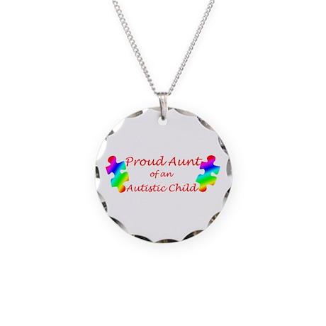 Autism Aunt Necklace Circle Charm