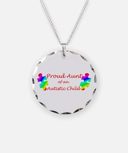 Autism Aunt Necklace Circle Charm