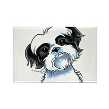 B/W Shih Tzu Art Rectangle Magnet