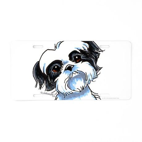 B/W Shih Tzu Art Aluminum License Plate