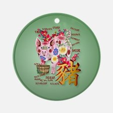 Year Of The Pig In Flowers Ornament (Round)