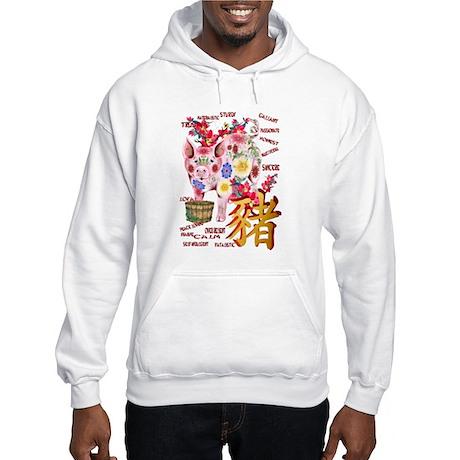 Year Of The Pig In Flowers Hooded Sweatshirt