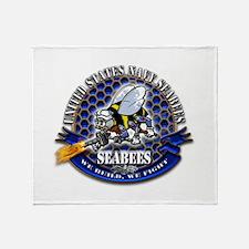 USN Navy Seabees Bee We Build Throw Blanket