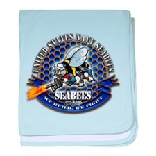 USN Navy Seabees Bee We Build baby blanket