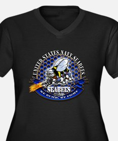 USN Navy Seabees Bee We Build Women's Plus Size V-