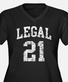 Legal 21 Birthday Women's Plus Size V-Neck Dark T-