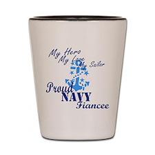 Proud Navy Fiancee Shot Glass