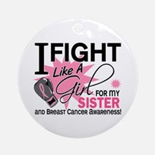 Fight Like A Girl Breast Cancer Ornament (Round)