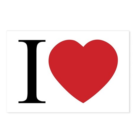 I LOVE (Heart) Postcards (Package of 8)