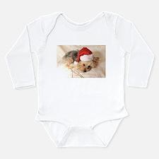 Santa Yorkie - Long Sleeve Infant Bodysuit
