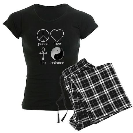 Peace Love Life Balance Women's Dark Pajamas