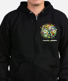 summer tree Zip Hoodie (dark)