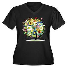 summer tree Women's Plus Size V-Neck Dark T-Shirt