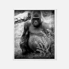 Vintage Black and White Gorilla Throw Blanket