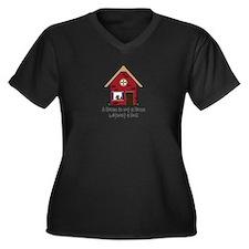 Cute Cheerful Women's Plus Size V-Neck Dark T-Shirt