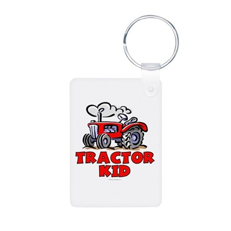 Red Tractor Kid Aluminum Photo Keychain