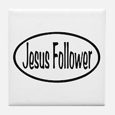 Jesus Follower Oval Tile Coaster