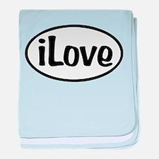 iLove Oval baby blanket