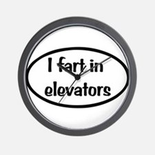 iFart in Elevators Oval Wall Clock