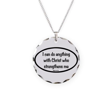 I can do anything Oval Necklace Circle Charm