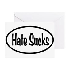 Hate Sucks Oval Greeting Card
